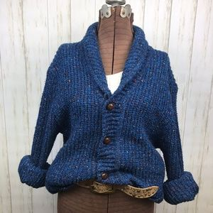 Vintage Wool Blend Oversized Grandpa Sweater Blue